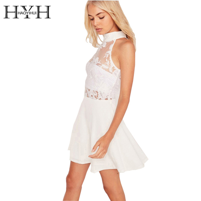 5c06cdad786 HYH HAOYIHUI Sexy Robe En Dentelle Femmes Sans Manches Blanc Mini Robe  Patineuse Femme Col Roulé
