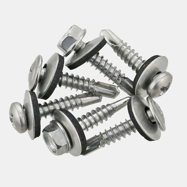 20PCS-M4.2-M6.3 304 Stainless Steel Waterproof Gasket, EPDM Non-slip Washer Self Drilling Tapping Screw Gasket