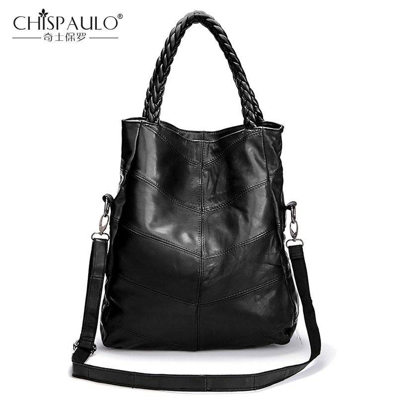 2017 Genuine Leather Women Shoulder Bags Famous Brand Sheepskin Patchwork Lady Casual Tote Luxury Handbags Women Bags Designer