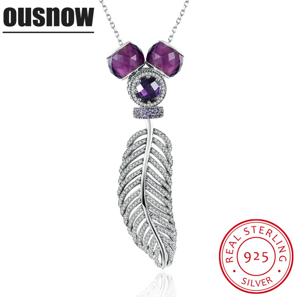 Ousnow brand original design quality luxury fashion jewelry 925 sterling silver charm feather shape Ms. necklace party gift цена