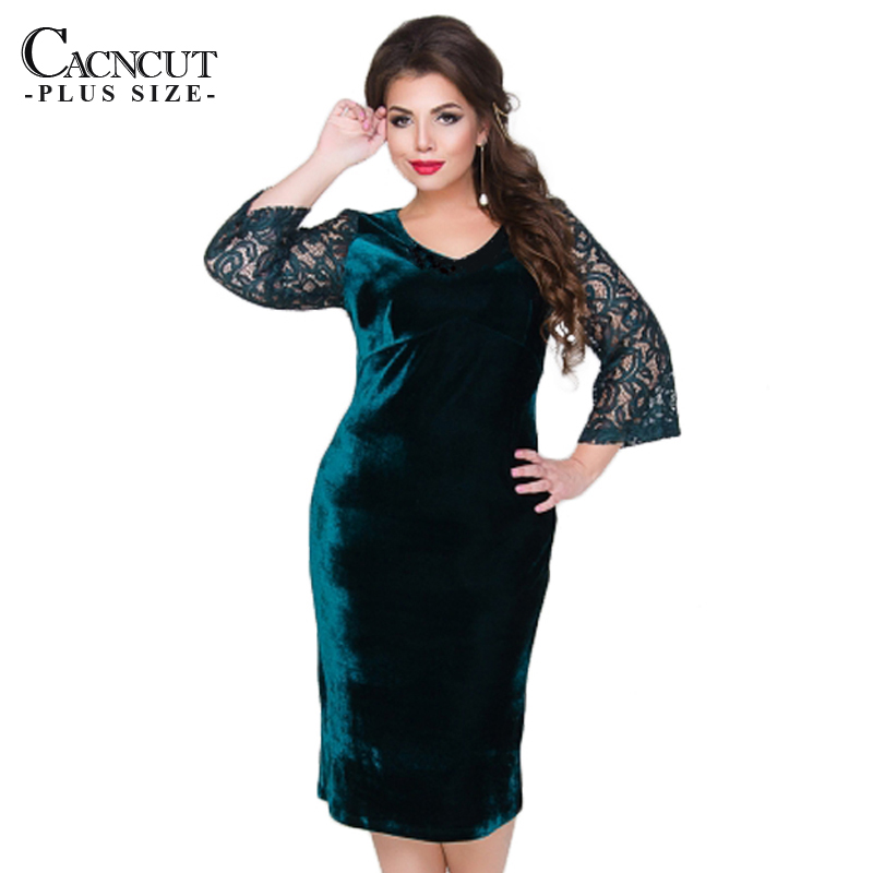 Plus Size Women Dress Patchwork Velvet Autumn Big Size Women Lace Party Dress Office Female Large Size 2019 Tunic Dresses V-neck