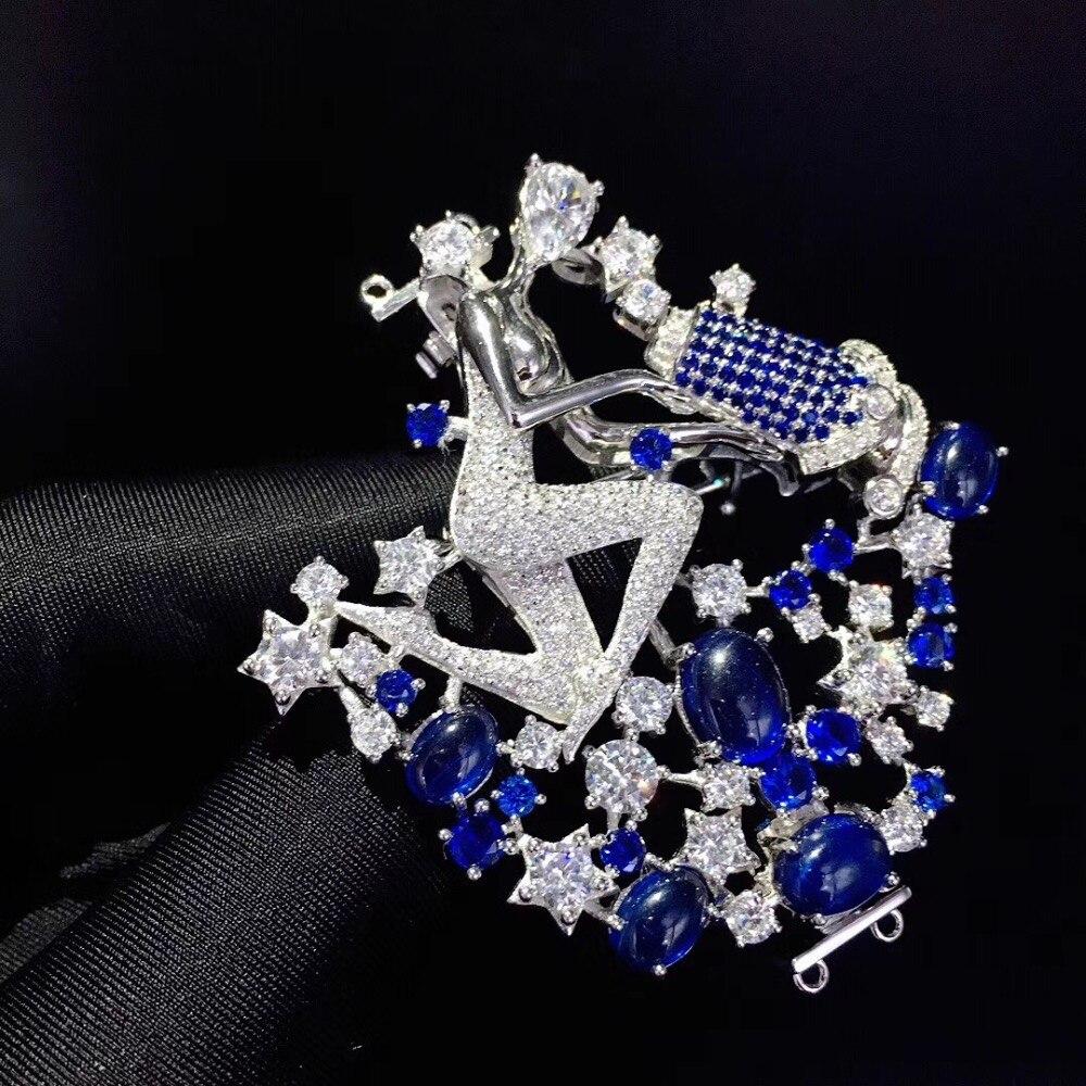 Bijoux trouver et composants serrure de collier bricolage 12 constellation verseau 925 argent avec zircon cubique broche double usage