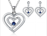 2015 New Fashion Silver Plated Jewelry Set Blue/Red/Purple/White Zircon Crystal earrings necklace jewelry sets for women