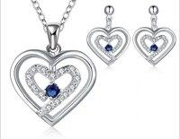 2015 nowych moda posrebrzany zestaw biżuterii niebieski/czerwony/fioletowy/biały cyrkon kryształowe kolczyki naszyjnik zestawy biżuterii Dla kobiet
