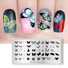 BORN PRETTY 1PC L003 Overprint Nail Stamping Plates Rectangle Butterfly Leaves Design Stamp Image Template DIY Manicure