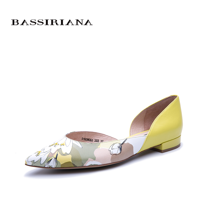 BASSIRIANA new leather flats womens shoes pointed soft leather for summer spring fashion color size 35