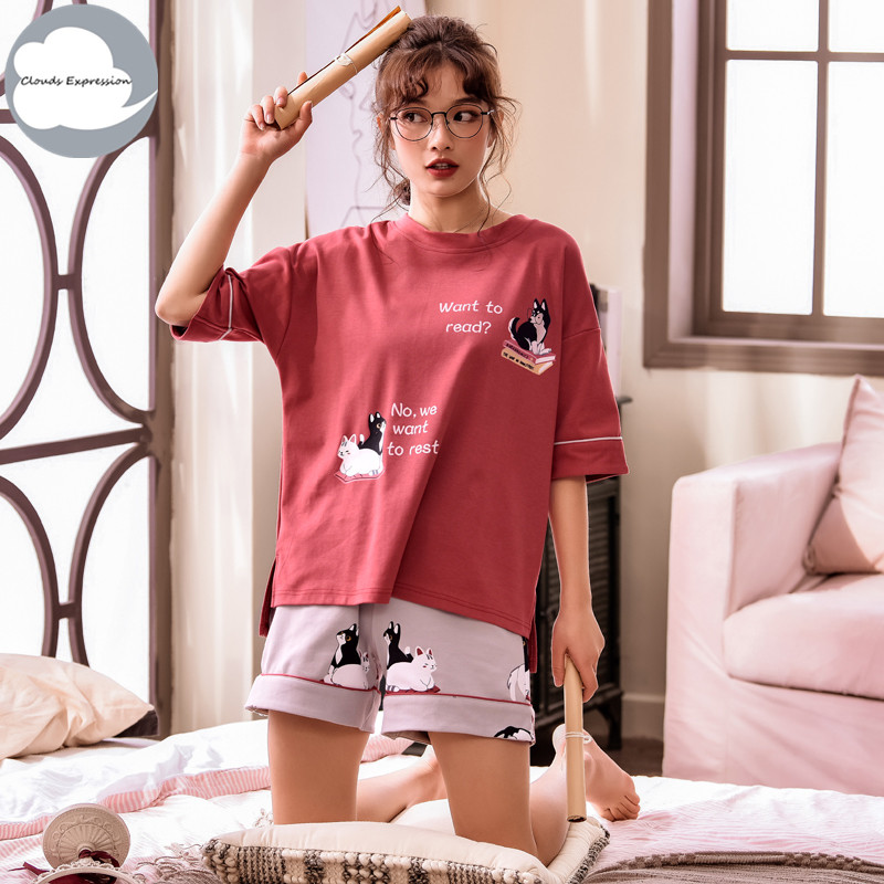 Summer Short Sleeved Knitted Cotton Women's   Pajama     Set   Cute Girls Cartoon Nightgowns Pants   Pajama     Sets   Sleepwear Home Clothing