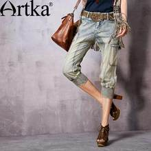 Artka Women's Spring New Washed Patchwork Calf-Length Jeans Vintage Elastic Waist Straight Jeans With Pockets KN10063C