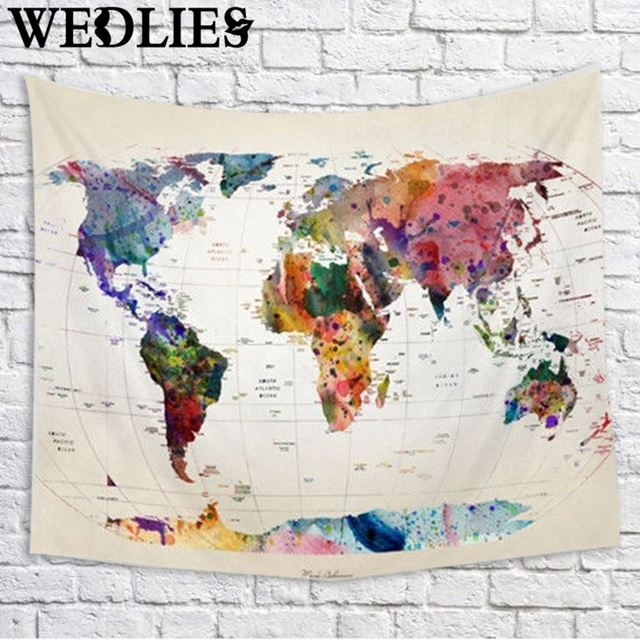 Wall Hanging World Map Tapestry Indian Mandala Throw Blanket - World map blanket