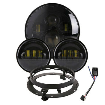7inch LED Motorcycle Headlight Assembly Kit&4.5inch LED Fog Passing Lights for Touring Dyna Cafe Racer Bobber Road King
