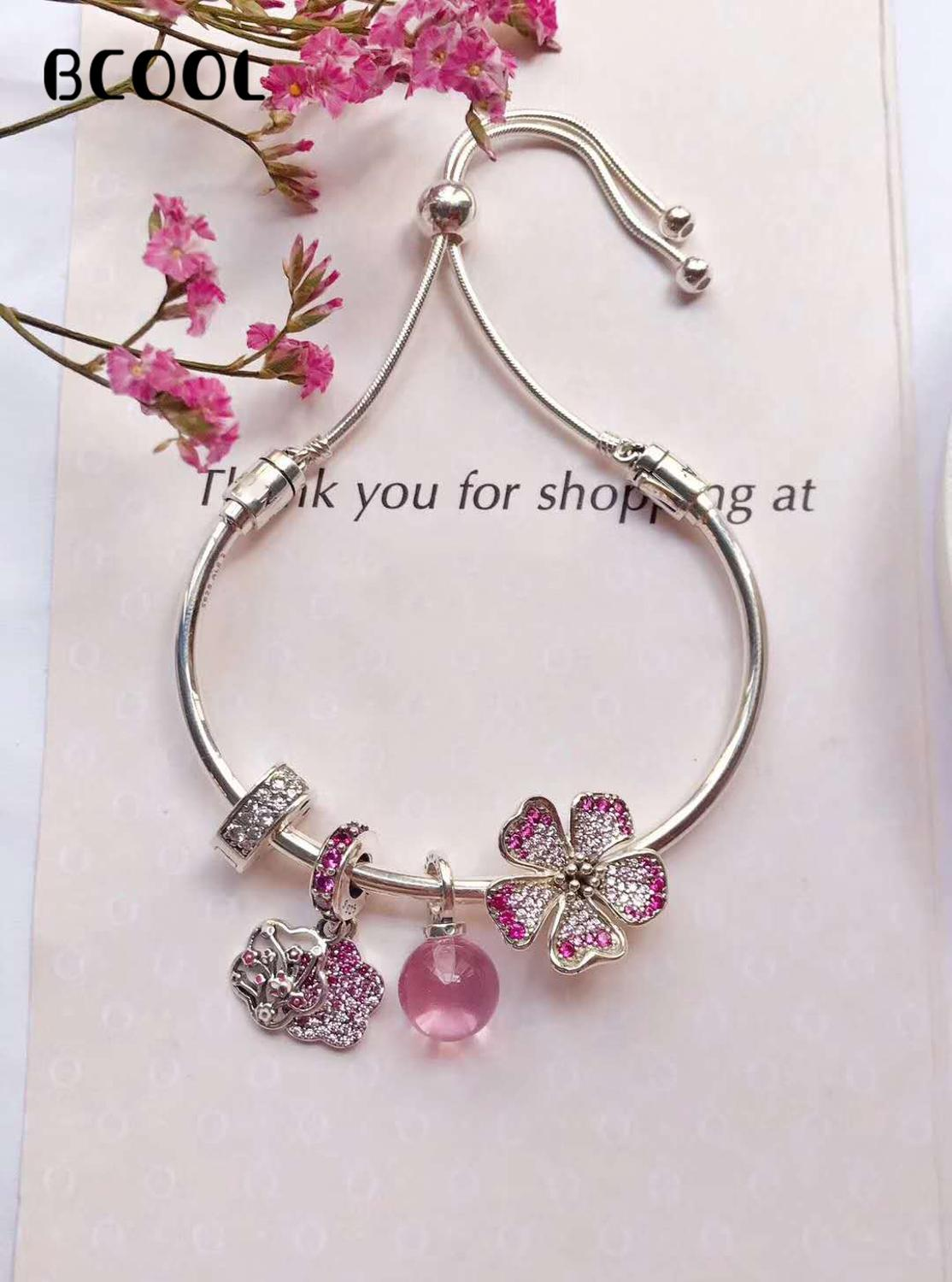 100%925 Sterling Silver Original 1:1, Fashionable Silver Charm Bracelet, Suitable For Women 2019 New Fashion Bracelet Jewelry100%925 Sterling Silver Original 1:1, Fashionable Silver Charm Bracelet, Suitable For Women 2019 New Fashion Bracelet Jewelry