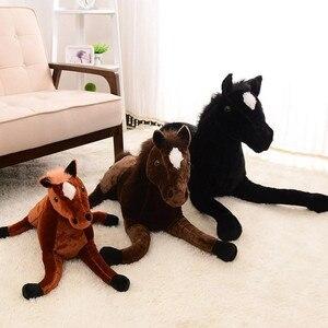Image 5 - Tamanho grande simulação animal 70x40cm, cavalo, brinquedo de pelúcia, prata, cavalo, boneca para presente de aniversário