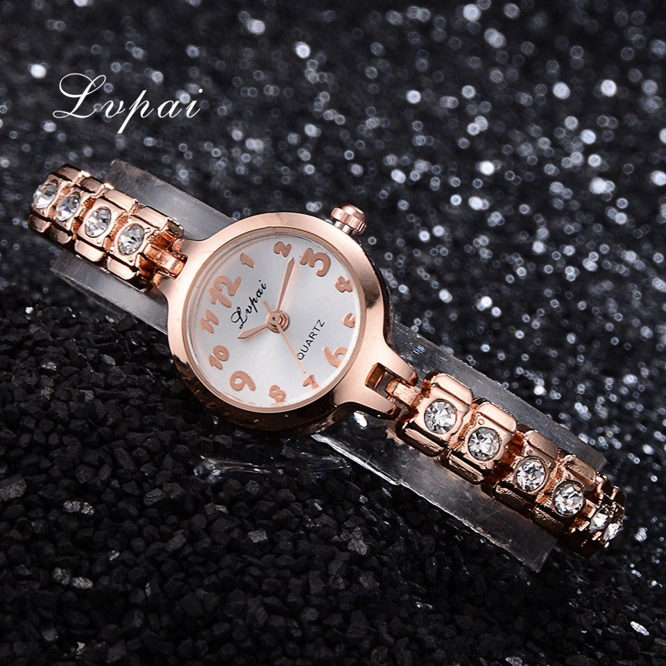 Discount Lvpai Brand Watches Women Luxury Rose Gold Simple Crystal Tester Dial Bracelet Wrist Watch Ladies Creative Chinese