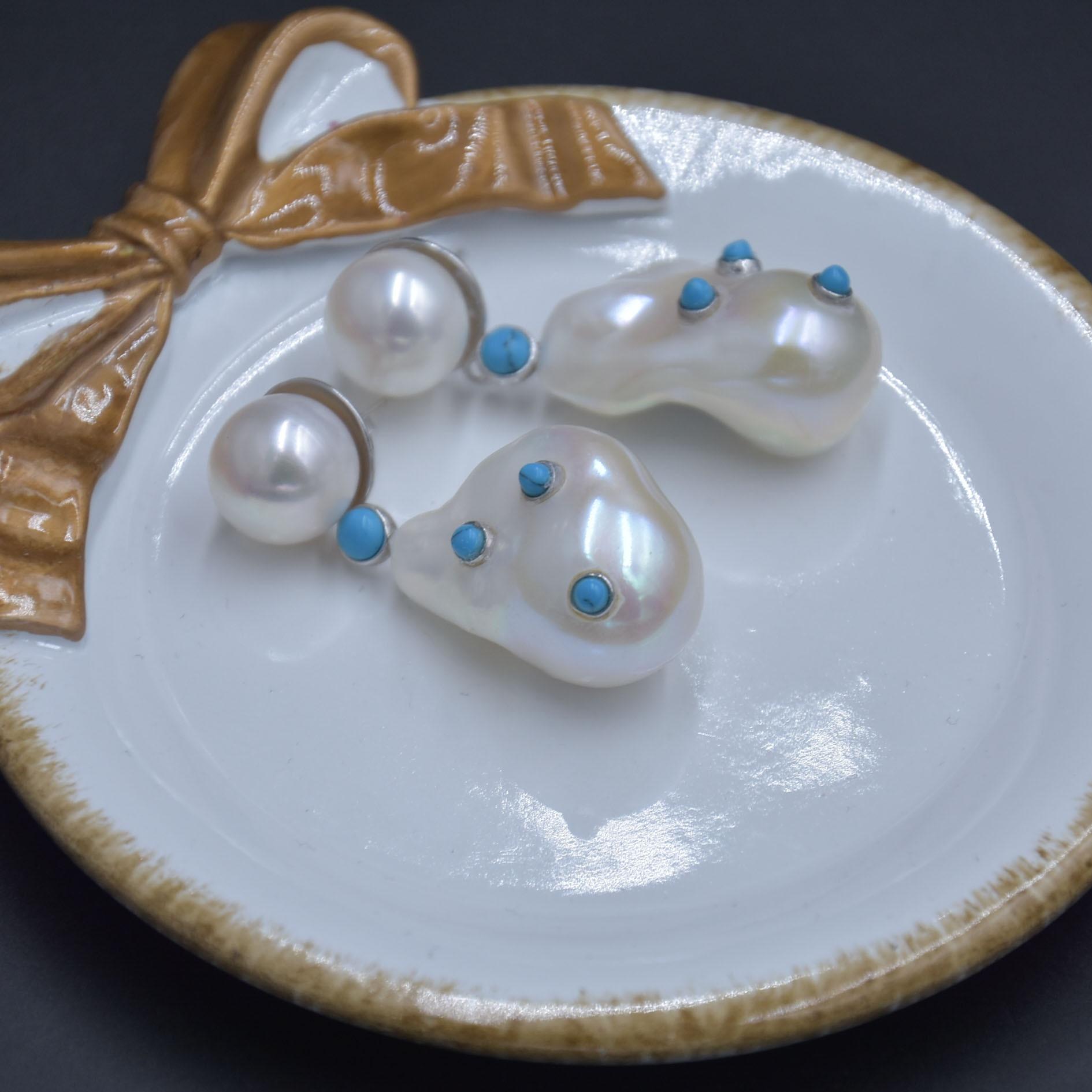 CERUN BAROQUE perles boucle d'oreille couleur blanche 18-20mm 925 argent clou d'eau douce perle boucles d'oreilles bijoux pour les femmes - 4
