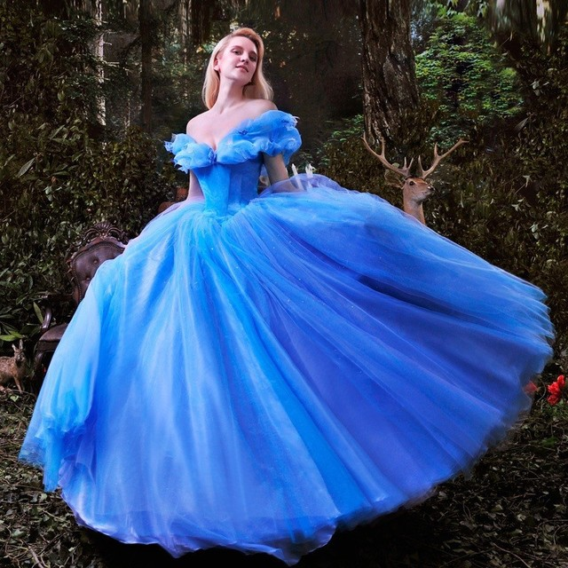 Robe De Mariee 2017 New Movie Deluxe Blue Cinderella Wedding Dress Costume Bridal
