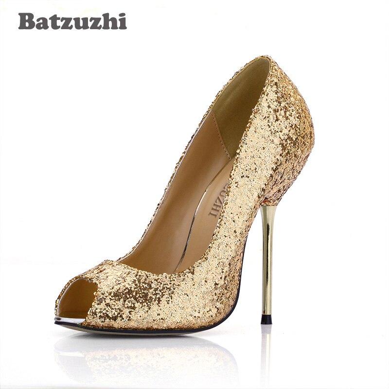 43 Batzuzhi In Donne Delle 4 Sposa Tacchi Scarpe Oro Da Di Ferro Lusso 35 Cm 12 Toe 2018 Peep Marca Donna Modo Sexy Formato Oro ppqZrgHW