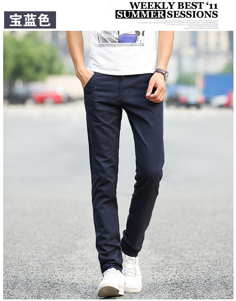 Business Casual Pants 11 Colors New Casual Pencil Pants Men Slim Pant Straight Trousers Solid Leisure Zipper Spring Summer k919 21