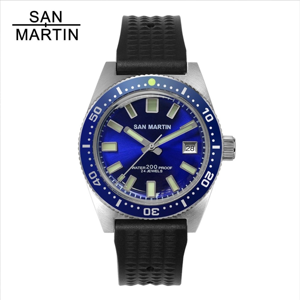 San Martin New 62MAS Men Automatic Watch Stainless Steel diving Watch 20ATM Blue 12 Luminous Bezel