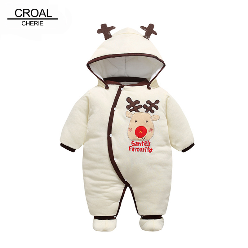 CROAL CHERIE 50-80cm Christmas Elk Baby Winter Romper Newborn Baby Boy Clothes With Warm Shoes Beige Thicken Kids Coat cherie cherie lip balm mint