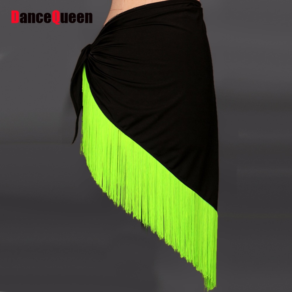 Women Latin Dance Skirt For Sale Lace&Tassel&Nylon Shawl For Cha Cha/Rumba/Samba/Cowboy/Salsa Hip Scarf Clothing For Dacewear