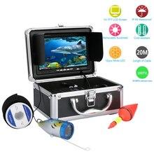 GAMWATER 7 дюймов HD 1000tvl подводная рыболовная видеокамера комплект 12 шт. белых светодиодов видео эхолот 15 м 20 м 30 м 50 м