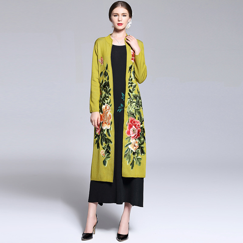 2017 NEW High Quality spring autumn Long sleeve coat Women Clothing knitting Embroidery coats S XXL