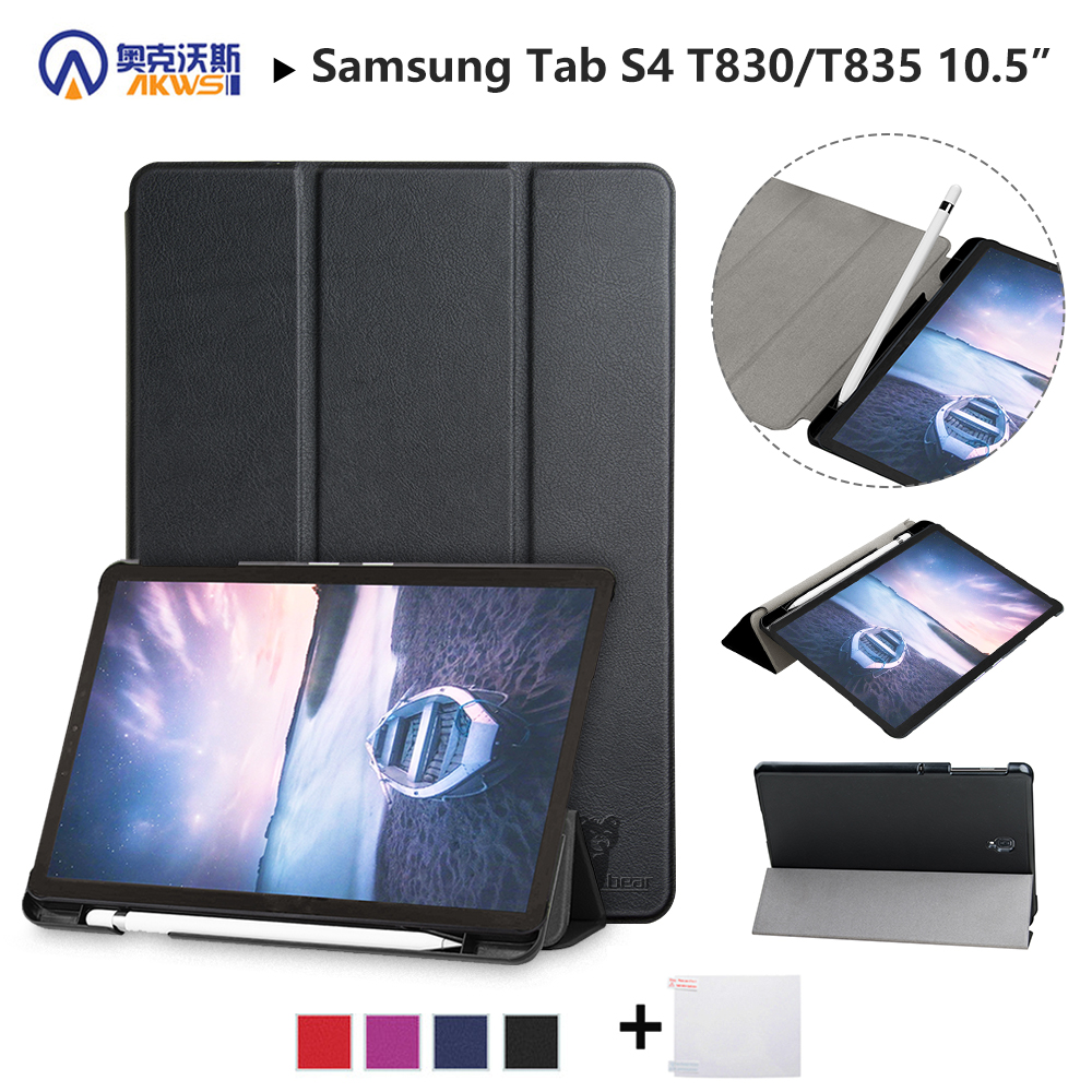 Walkers Slim Case for Samsung Galaxy Tab S4 T830 T835 SM-T835 SM-T835 10.5'' Tablet (2018 Released) Protective Skin+stylus+film недорго, оригинальная цена