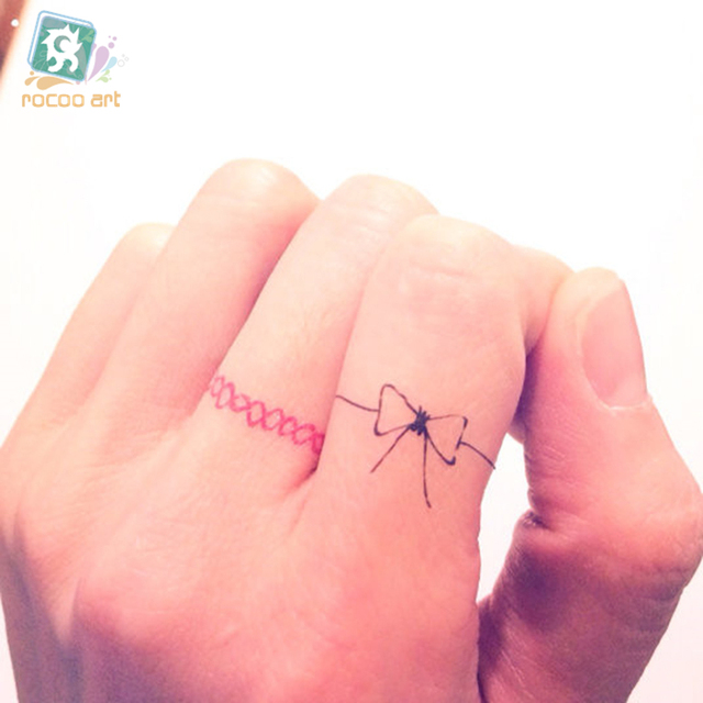 8904e872b HC-31 Miniature Finger Fake Ring Tattoo Stickers Waterproof Women Cute Bow  Design False Temporary Tattoo Sticker Free Shipping
