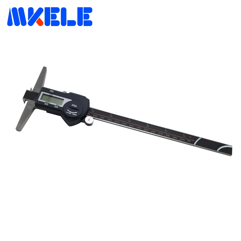 цена на 0-200mm Double Hook Depth Vernier Caliper Digital Stainless Steel Electronic Caliper IP54 Waterproof High Accuracy