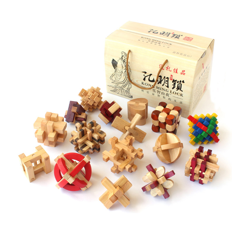 16 pcs/lot China ancient educational wooden toys 3D wood IQ jigsaw brain teaser puzzle for adults,puzle games over 50 brain games