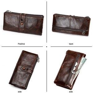 Image 2 - Mannen Portemonnees Lange Rits Lederen Mannelijke Clutch Bags Met Gsm Houder Hoge Kwaliteit Kaarthouder Portemonnee