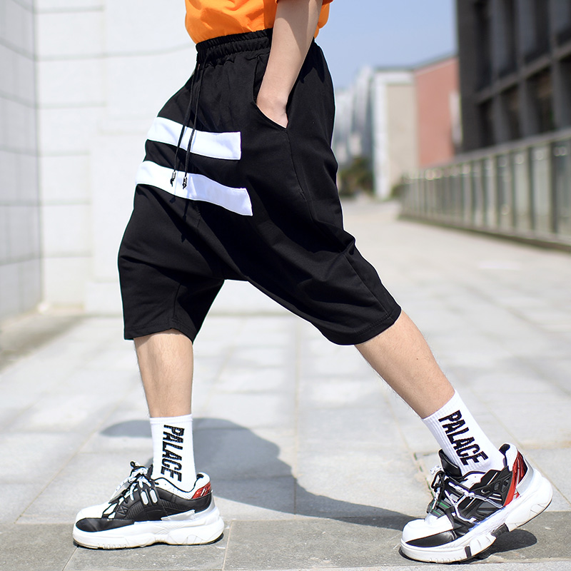 Summer Men's Black Cross-Pants Spliced White Striped Baggy Pants Men Fashion Streetwear Hip Hop Stretch Casual Short Pants Male