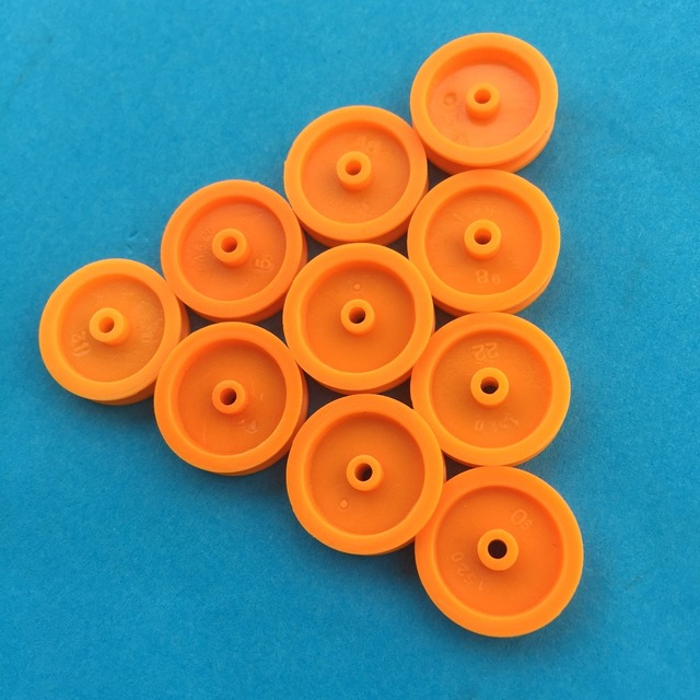 10pcs J347Y 2*17mm Yellow Plastic Model Belt Pulley DIY Micro Motor Transmission Parts Gear Box Mating Parts