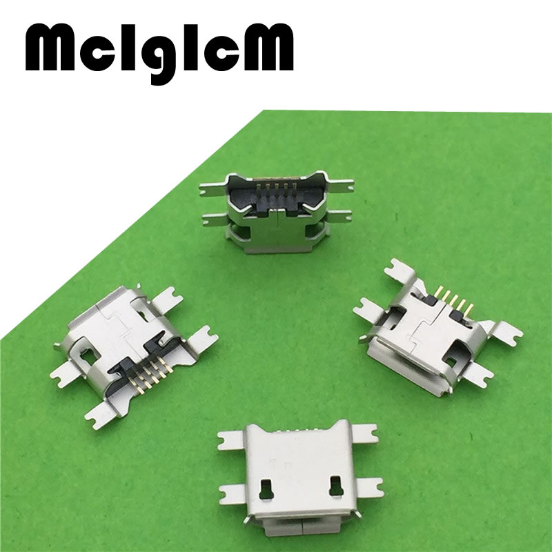 MCIGICM 100pcs Micro USB SMD Socket  5pin Female Connector 4 feet Widely Used In Tablet Phone PDA Charging Free Shipping 100pcs 5000pcs usb female socket for apple iphone 5 testing connector 10pin smt front insert feet connector tail plug