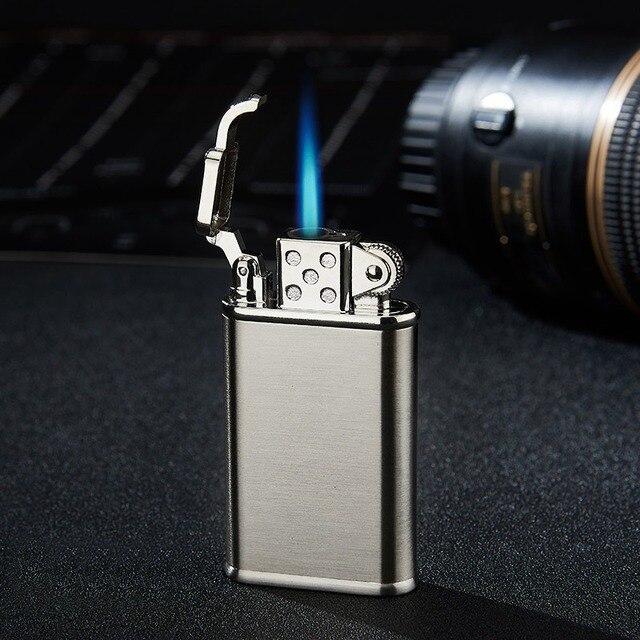 Briquet gaz coupe-vent Butane style rétro | Style rétro créatif pour hommes, briquet de personnalité, pistolet à flamme bleue, briquet torche, allume-cigare