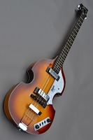 Custom shop 4 string violin hofner bass guitar, hollow electric bass, tiger texture, sunset, free delivery.