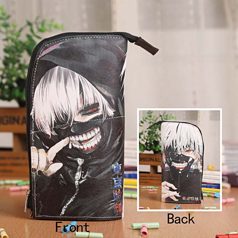 Anime Tokyo Ghoul kaneki ken Waterproof PU Leather Stationery Pouch/Brush Pot/Pen Holder/Pencil Case Bag/Office School Supplies цена