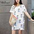 MissLymi Plus Size Loose Women T-shirt 2017 Nova Moda de Verão O-pescoço Manga Curta Impressão Ocasional Harajuku Bonito Longo Encabeça Branco