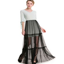 Womens new stitching bud silk gauze dress sexy lace-up sleeve party summer