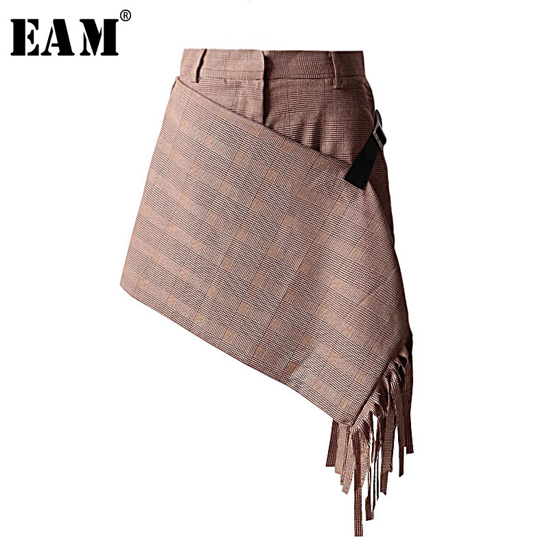[EAM] 2019 New Spring Summer High Waist Loose Plaid Printed Irregular Tassels Wide Leg   Shorts   Women Trousers Fashion Tide JS524