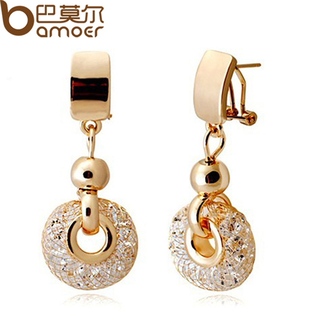 Bamoer роскошные розового золота серьги шампанское провода циркон кристалл женщина модные драгоценности jse019