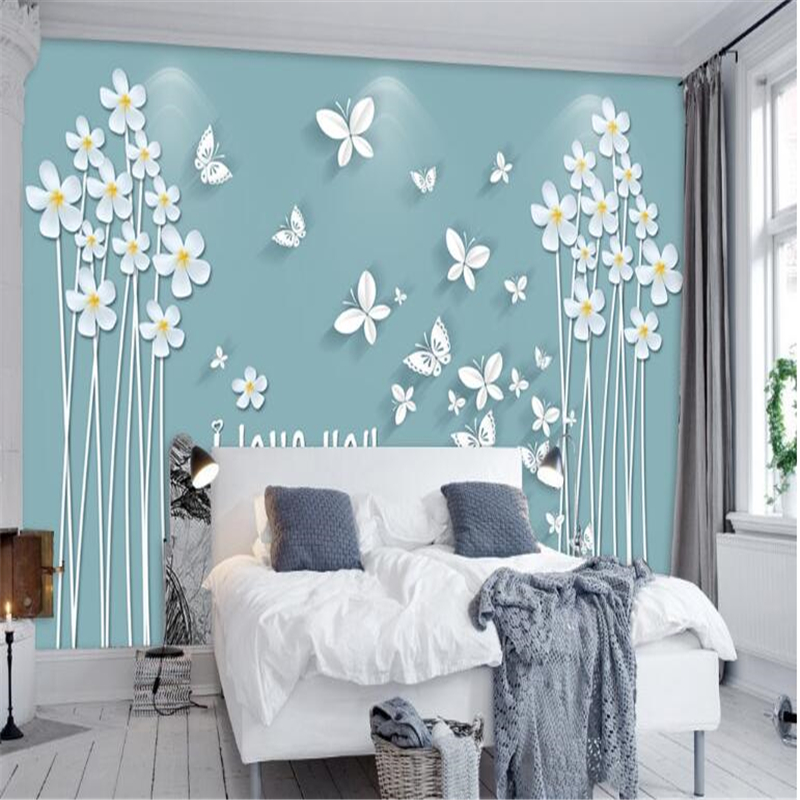 Beibehang 3d Custom Photo Wallpaper Wall Murals Stickers Green Small Fresh Butterfly Love For Three - Dimensional Background