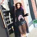 2017 nueva primavera las mujeres de moda lindo de la flor camisetas de manga larga de malla patchwork sexy pullover