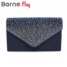 Berno Fly New Woman Evening Bag Silver Glittered Clutch Bags Wallet Wedding Purse Party Banquet Girls Shoulder Bag Messenger Bag