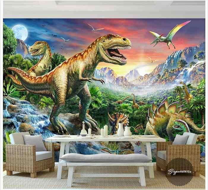Aangepaste foto wallpaper 3d muurschilderingen behang Rivier steen bos wereld dinosaur animal olieverf kinderkamer behang