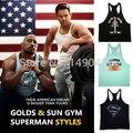Superman academias regatas tanque dos homens tops camisa do músculo, musculação aptidão colete singlets longarina ouros ginásios de tubarão dos homens clothing