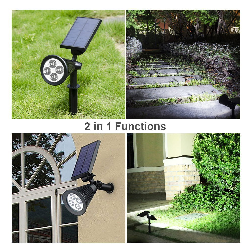 Solar LED Lights Brilex Rechargeable Garden Landscape Lawn Pathway Waterproof Outdoors Use Lights Automatic 4 LED Light Sensor