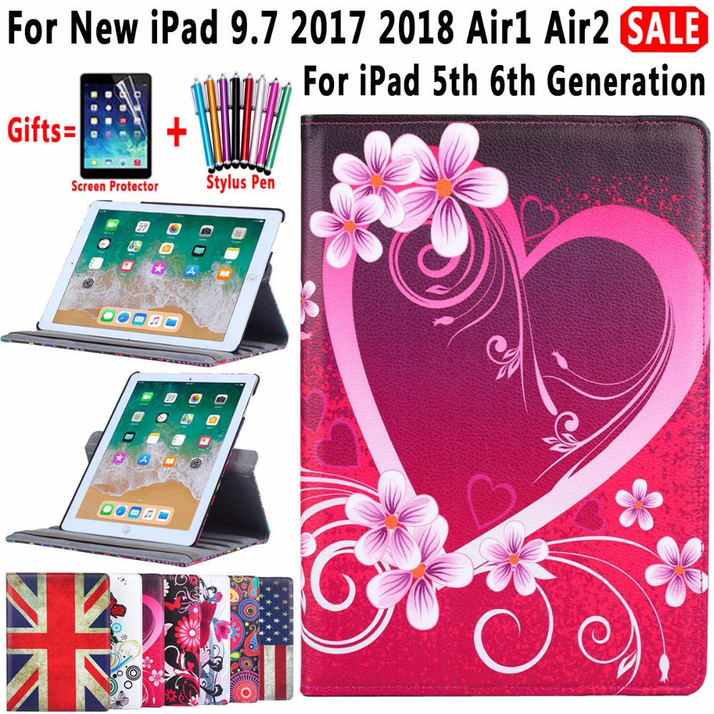 360 Degree Rotating Leather Flower Flag Cover for Apple iPad New iPad 9.7 2017 2018 Air 1 2 5 6 5th 6th Generation Case Funda for ipad 5th 6th generation case tablet cover for apple ipad air air2 case pu leather stand cases for ipad 5 ipad 6 cover funda