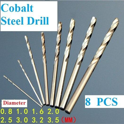 8PCS 0.8-3.5mm Mirco HSS Aleaciones de acero de cobalto Juegos de brocas helicoidales para metal Madera Plástico Envío gratis Rusia
