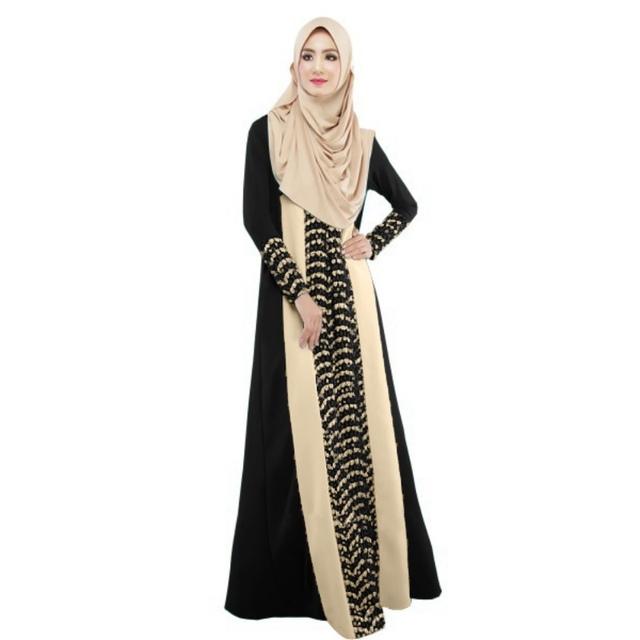 2016 señora Lace Stitching partido de manga larga vestido de cuerpo entero moda Abaya islámico musulmán